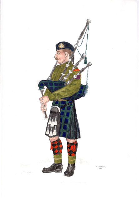 Aquarel donated to the Cape Breton Highlanders of Canada. Click here to enlarge